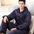 Sexy Male Pajamas New Sale 2017 Hombre Pajamas Men Fall Thickened Coral Male Suit Two Pieces Long Sleeved Mink Home Furnishing