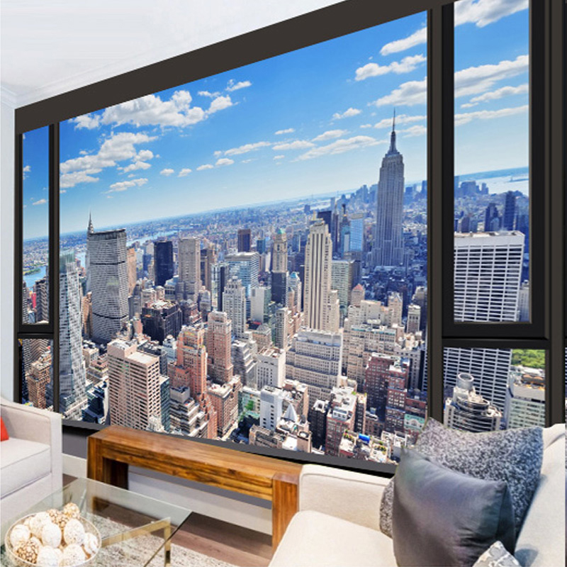 Hottest City Landscape 3D Wall Mural Photo Wallpaper Living Room Office Backdrop Wall Fresco 3D Stereo Non-Woven Papel De Parede