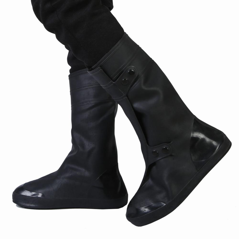 1 Paire Imperméable Chaussures Couverture Noir Antidérapant Couverture De Pluie Homme Femmes Haut-haut Cyclisme Chaussures Cas Réutilisable Pluie Chaud Bottes Surchaussures Achat SpéCial