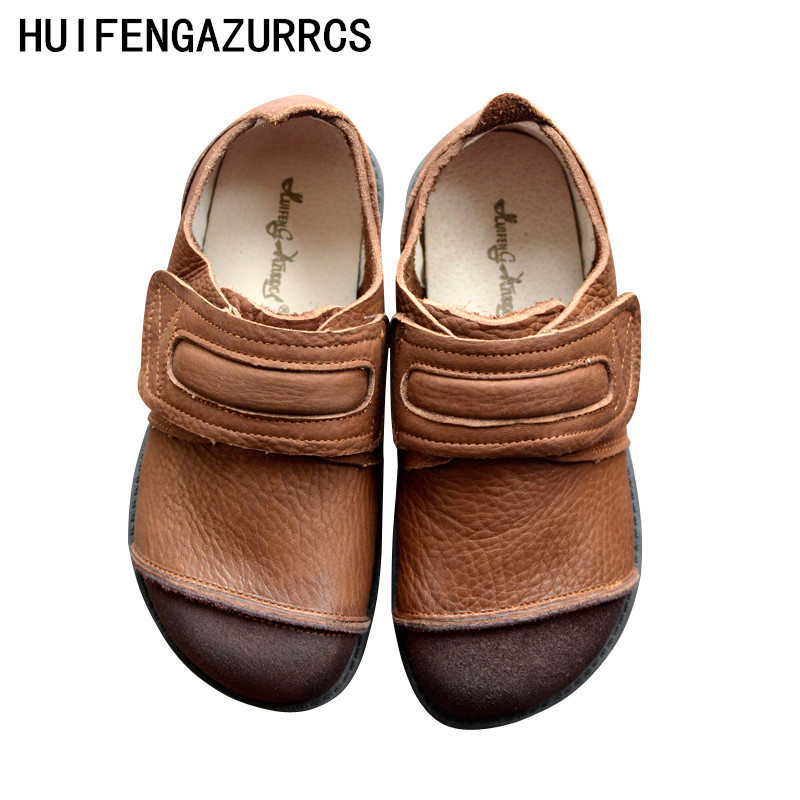 HUIFENGAZURRCS-Literary&Art Retro Spring Single Shoes, Leather Soft-soled Buddhist Shoes,real leather Leisure Flat-soled Shoes