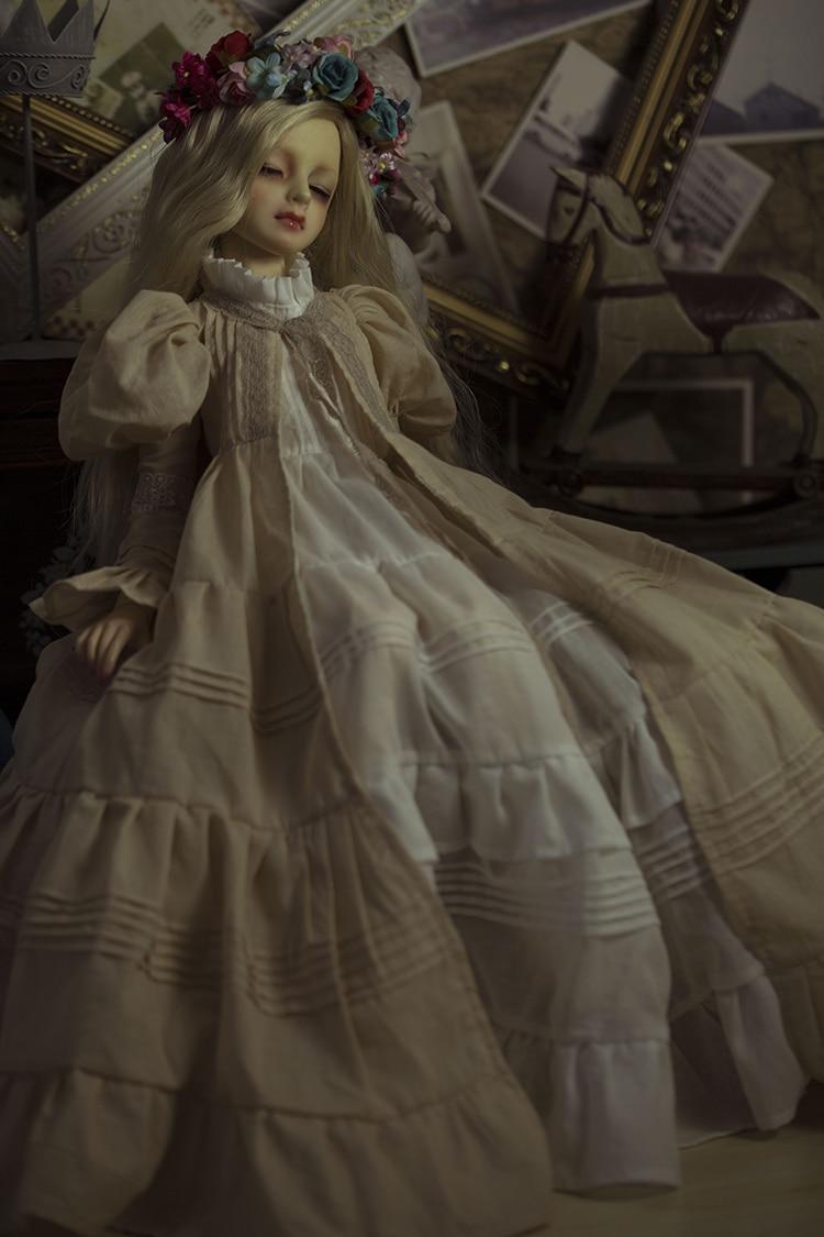 BJD Doll Retro European style dress Mystery Long Dress For BJD 1/4 MSD 1/3 SD16 1/2 Doll Clothes CW3