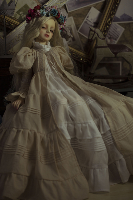 BJD Doll Retro European style dress Mystery Long Dress For BJD 1/4 MSD 1/3 SD16 1/2 Doll Clothes CW3