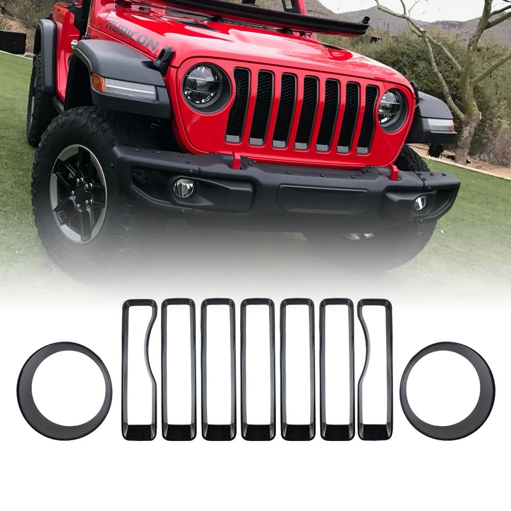 Black 2018 Jeep Wrangler JL Mesh Grille Grill Insert+Headlight Turn Light Cover Trim