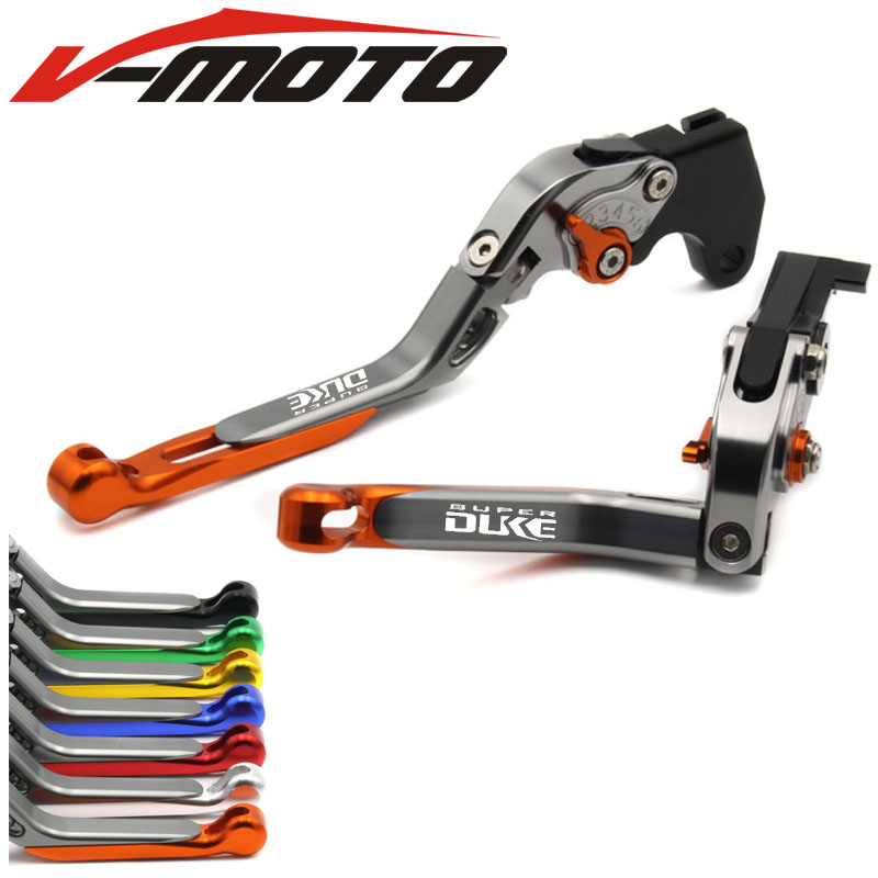 Adjustable Folding Extendable Brake Clutch Lever For KTM 1290 SUPER DUKE R SUPERDUKE 14 15 ORANGE LOGO Free shipping Motorcycle