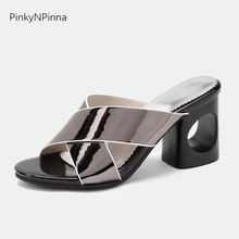 summer fashion women shining patent leather slippers wide cross tied cutout high heels slides hot sale super large size mules цена 2017