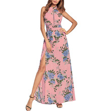 Floral Print Halter Long Dress Women Backless Maxi Party Dresses Vestidos Sexy Split Beach Summer Dress floral print halter sheath dress