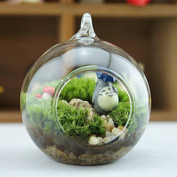 3pcs Set 8cm Flat Bottom Hanging Glass Balls Ornament Succulent