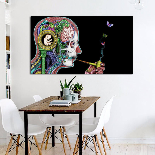 c1bfabd3a28 Perfectly wonderful abstract poster Abstract Human Head living room home wall  art decor wood frame fabric