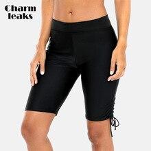 Charmleaks Women's Sports Bikini Bottom Capris Swim Trunks Drawstring Swimwear Briefs Slim Swimsuit Swimming Bottom цены онлайн