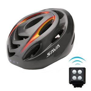 Image 5 - をサヴァ自転車ヘルメットバイクヘルメットサイクリング安全ヘルメットをオンにすると led ワイヤレス制御 usb 充電ヘルメット自転車ライト