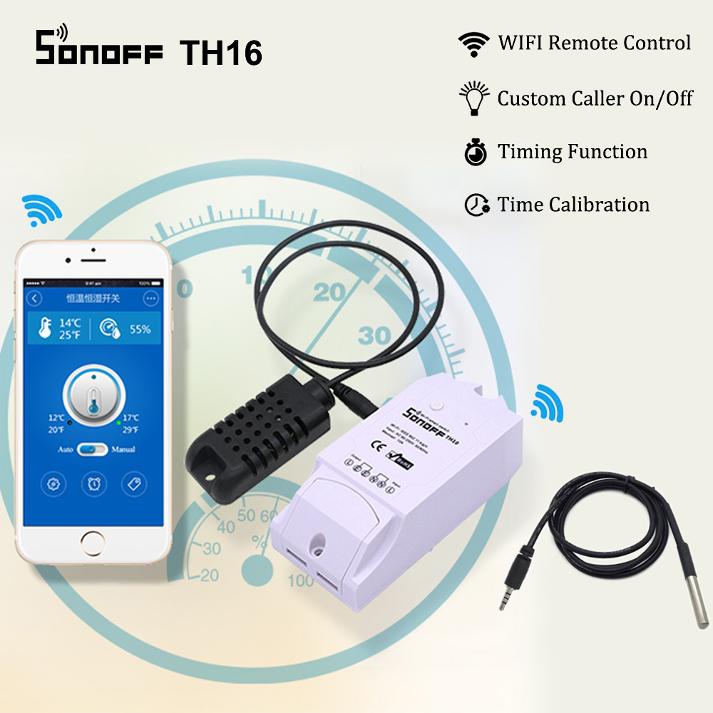 sonoff smart wifi switch th16 monitoring temperature humidity smart wifi switch home automation kit works with alexa google home [ 1000 x 1000 Pixel ]