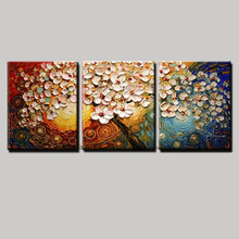 3 panel canvas wall art tree pictures modern flower acrylic floral knife canvas art picture wall art oil painting living room
