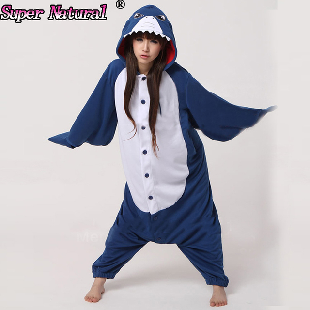 HKSNG Blue Shark Christmas Pajamas Animal Winter Warm Women SA Onesies Adult  Caine Costume Hooded For Party 0a1491ea53e4c