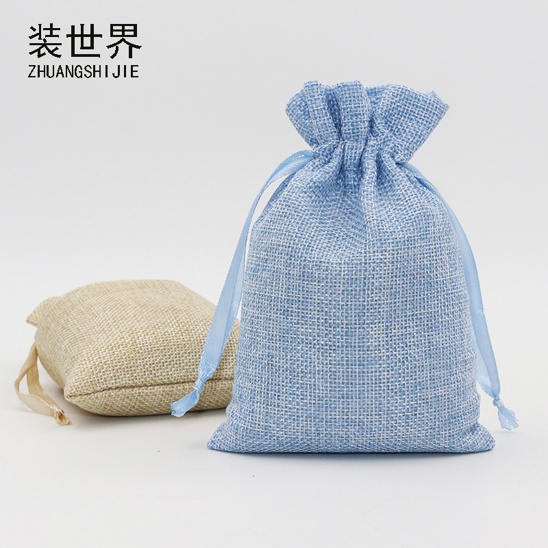 5Pcs 14x18cm Linen Drawstring Pouch Bag Logo Printed Jute Pouch Christmas/Wedding Party Bags