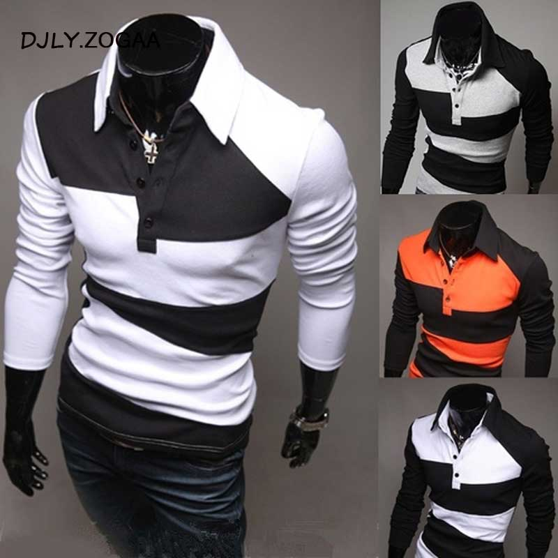ZOGAA Brand New Mens Polo Shirt Long Sleeve Korean Style Color Matching Slim Fit Polo Shirt Men Tops Tees 2019 Casual Polos