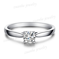 4 4.5MM Round Cut CZ Solid 10k White Gold Women's Fashion Jewelry Cathedral Ring