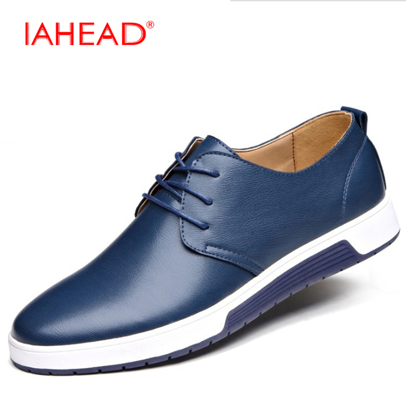 Men Leather Casual shoes For Summer Spring Solid Lace Up Genuine Leather Shoes Normal Size Fashion Super  Flats Shoe MC005 high quality men flats casual new genuine leather flat shoes men oxford fashion lace up dress shoes work shoe sapatos