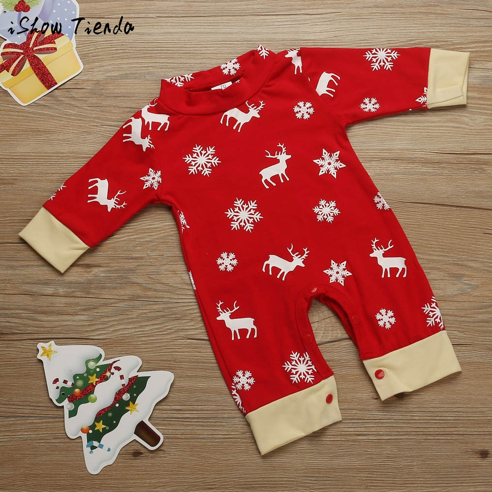 Newborn Baby winter clothing sets Christmas costume Deer Print long sleeve Romper Jumpsuit Pajamas Pullover Outfit new year suit