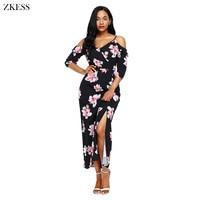 Zkess New Women Cold Shoulder Floral Print Maxi Dress Half Sleeve Hammock Shoulder Strap Front Slit