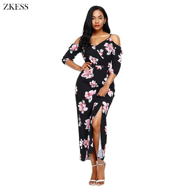 de1f6ee1f3321 Zkess New Women Cold Shoulder Floral Print Maxi Dress Half Sleeve Hammock  Shoulder Strap Front Slit Party Boho Dresses LC61695