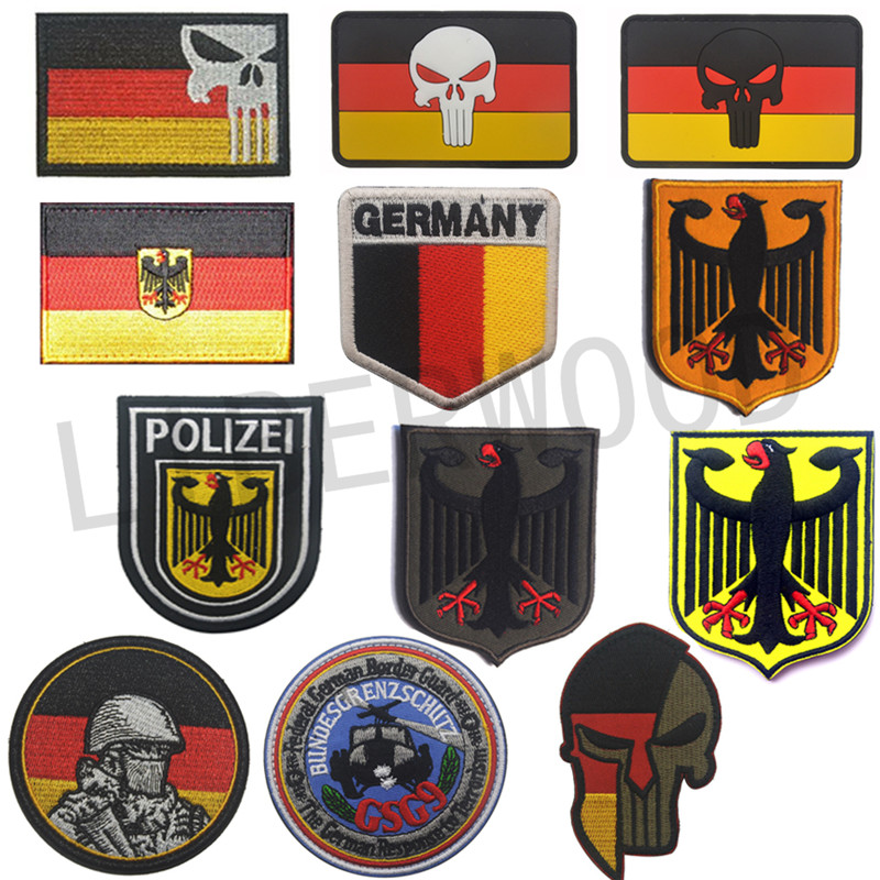 Embroidery POLIZEI POLICE Punisher Germany Deutschland Eagle German Flag Morale Patch Tactical Appliques Emblem Badge emblem