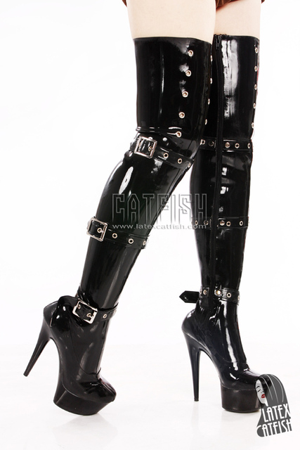 Leather rubber latex boots thigh high
