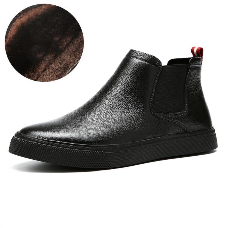 Hombres Los Las Homme Moda Estilo Del Británico Tobillo Botas Listado El De Nieve Mycolen Nuevo Chaussure Negro Invierno plush Blakc Martin zxYPq8X