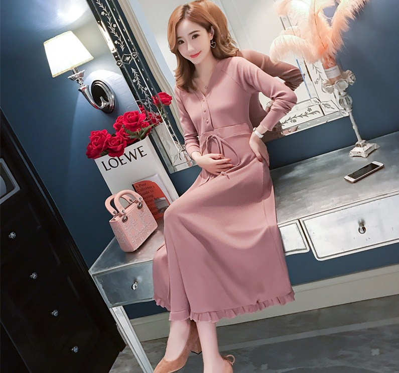Elegant Maternity Clothes Autumn Winter Slim Knitted Breastfeeding Dress For Pregnant Women Pregnancy Nursing Dress Outfits