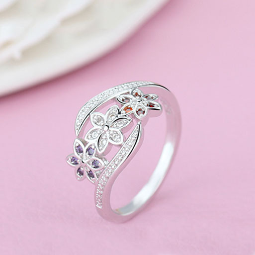Three Color CZ Flower Fashion Ring for Women  2