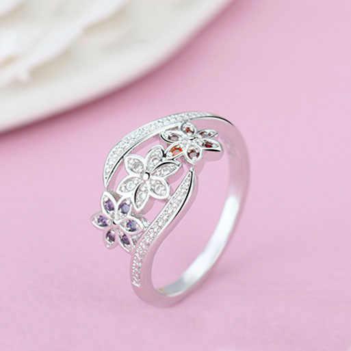 ออกแบบสามสี CZ ดอกไม้แหวนเด็กผู้หญิงแฟชั่น 925 เงินสเตอร์ลิงแหวนเครื่องประดับขนาด 7 8 9