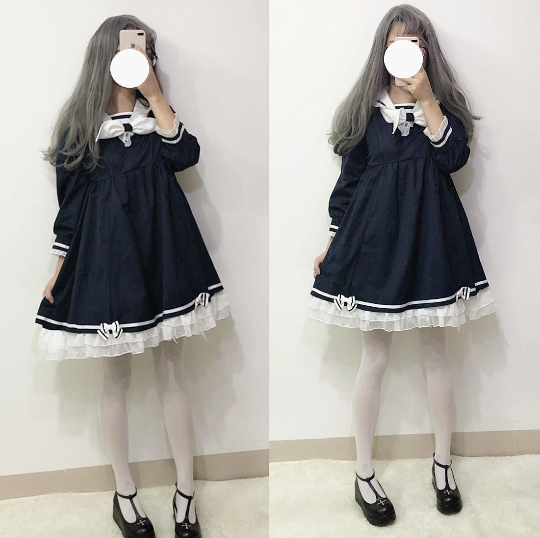 Harajuku Sailor Collar Navy Lace Dress Japanese Lolita JK Fashion Bow Soft Sister Girl Lovely Kawaii