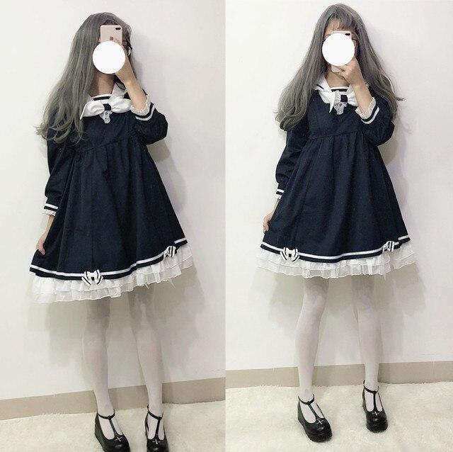 117cbda49 Gola Marinheiro da Marinha Vestido de Renda Japonês Harajuku Lolita JK Moda  Arco Irmã Macio Menina Linda Kawaii Preppy Ruffles Vestidos