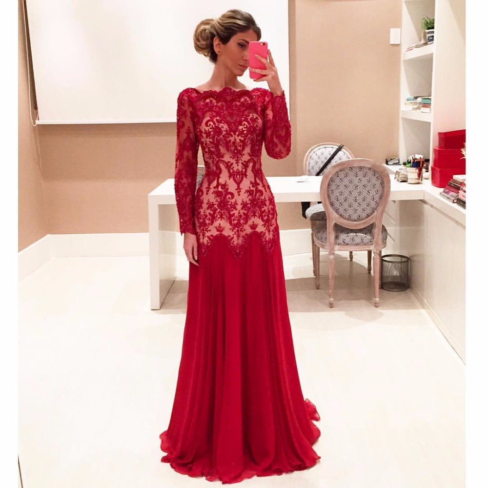 69aa26fe4e3d66 Red Evening Dress With Sleeves
