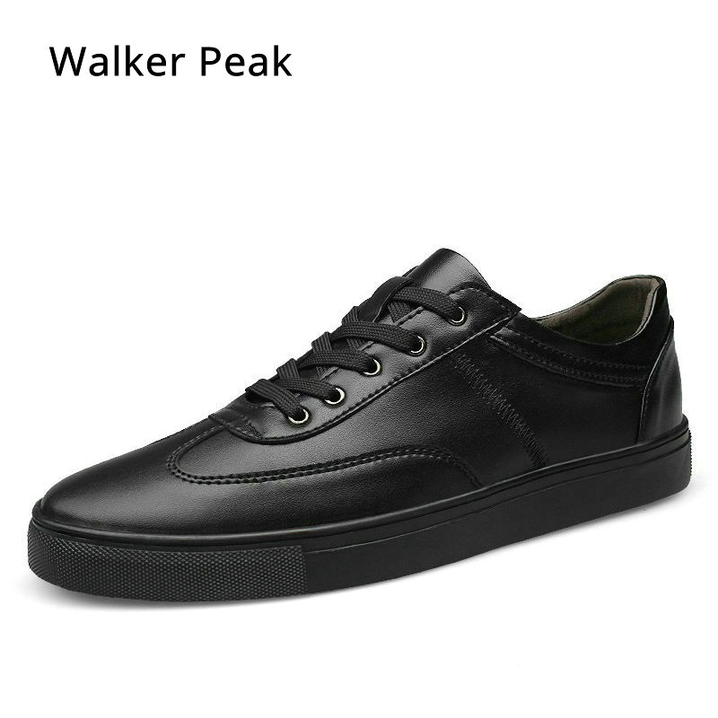 2018 New Spring Autumn Leather Mens Casual Shoes Fashion shoes for Men Lace-Up Black White Sneakers Shoes Size 35~49 Walker Peak