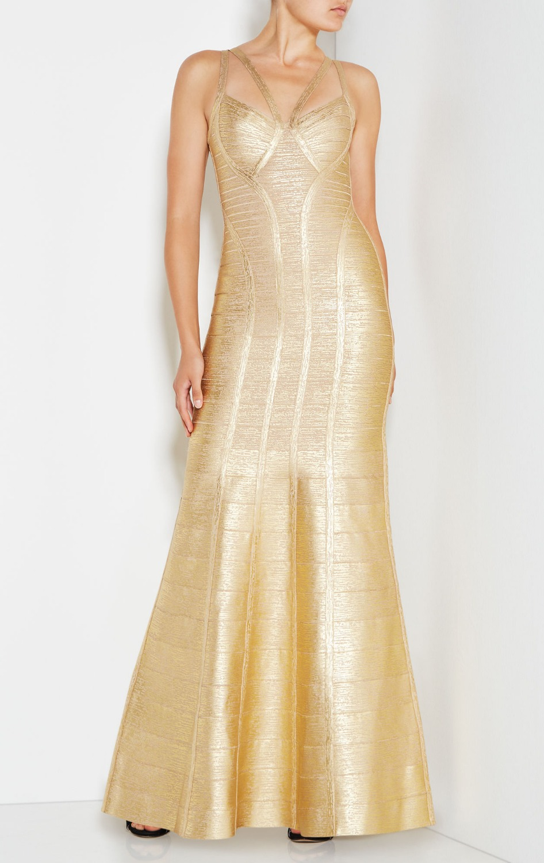 Hohe Qualität Promi Gold PrintLong Trompete Kleid Rayon Lange ...