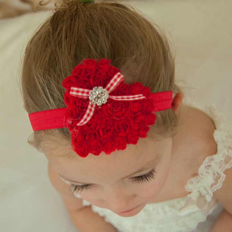 Naturalwell Baby Girls Headband Kids Red Christmas Hair Bands Children  Chiffon Flowers Heart Hair Accessories Photo Prop HB459 b8b07b012e7c