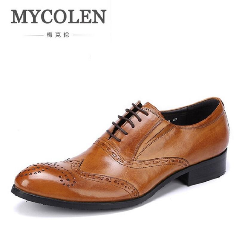 MYCOLEN Italian Designer Black Brown Brogue Shoes Genuine Leather Lace Up Men Formal Dress Shoes Party Office Wedding Oxfords good quality men genuine leather shoes lace up men s oxfords flats wedding black brown formal shoes