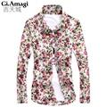 Camisa Social Sale Camisa Jeans Shirt Men Spring Autumn Korean Style Flowers Printing Slim Long Sleeve Mens Shirts Fashion 2015