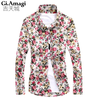 Spring Autumn Korean Style Flowers Printing Slim Long Sleeve 5xl Mens Shirts Mens Shirts Fashion 2015