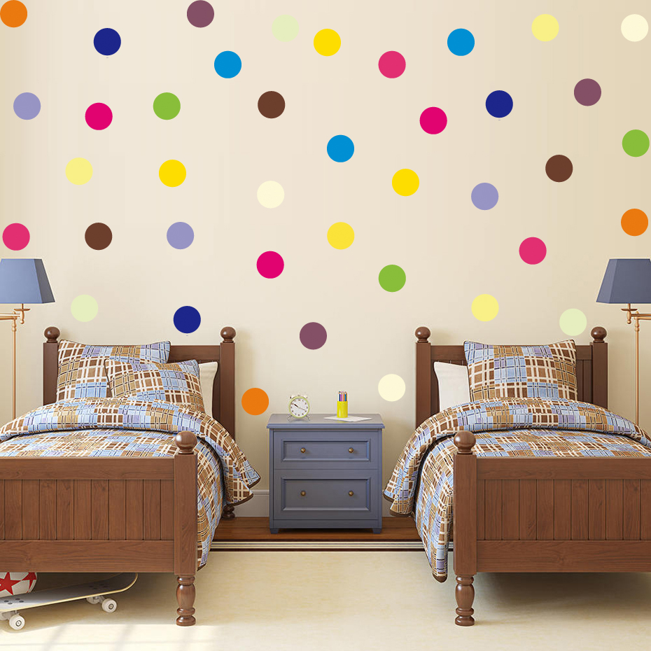 Colorful Kids Rooms: 120 Pcs Multi Color Polka Dots Wall Stickers DIY Removable