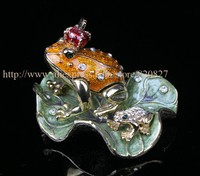 Legendary Bachelorette Frog Prince Crystals Toad King Crown Trinket Jewelry Box Bejeweled Frog With Crown 9