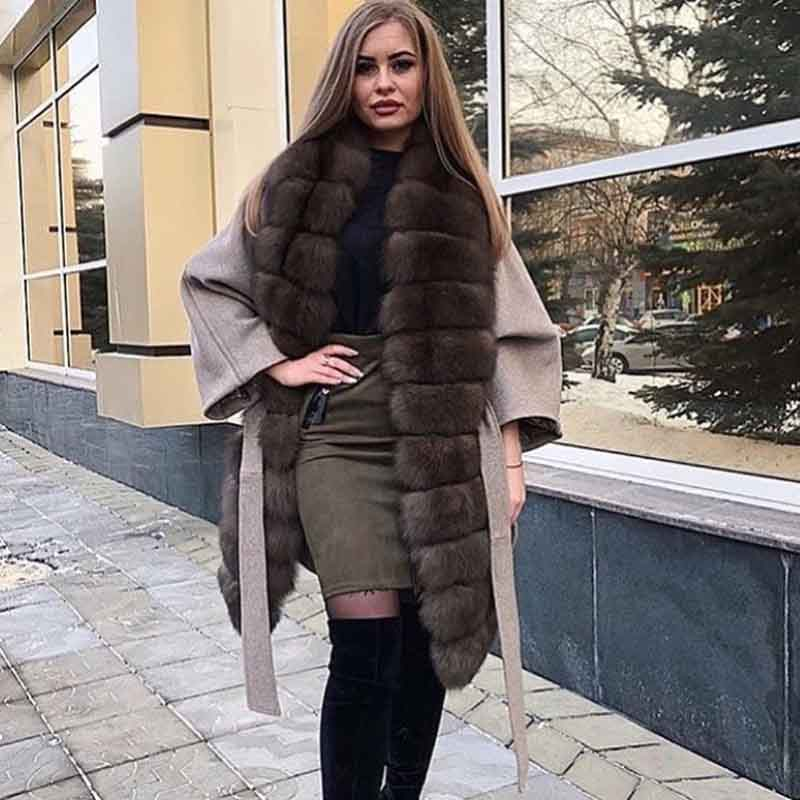 2019 Wool Blends Fashion Slim Long Coat Fur Real Women Coats Winter Spring And Autumn Stylish Women's Park With Natural Fur