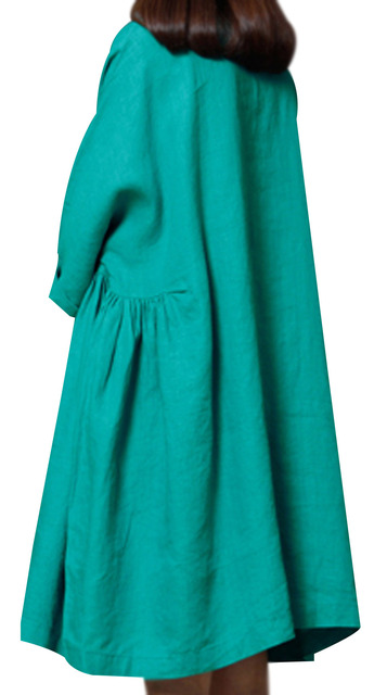P Ammy Lagenlook Plus Size Linen&Cotton Fashion Short sleeve Dress 4