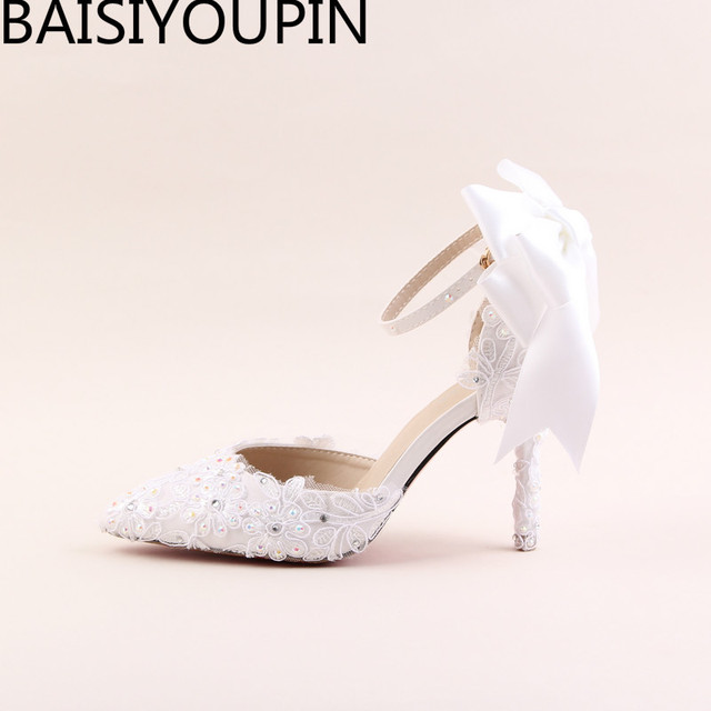 b4d5bb0fdbf5 2018 Summer Sandals Pointed High Heels Shoes White Bowknot Lace Flower  Bride Marriage Wristbands Diamond Dresses Wedding Shoes