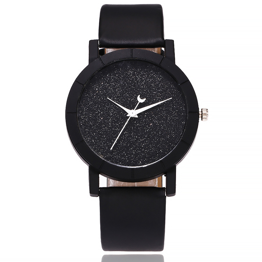Cute Moon Stars Design Analog Wrist Watch Women Unique Romantic Starry Sky Dial Casual Fashion Quartz Watches Women Gift Clock