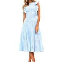 Fashion Summer Boho Dress New Women Solid Midi Dresses Robe Girl Sweet Lace Hollow Out Ruffles Sleeveless Party Sundress GV413