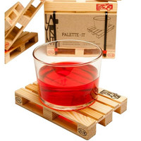 4pcs Set Wooden Pallet Styled Coaster Set Mini Wooden Pallet Tea Coffee Cup Coaster Creative Wood