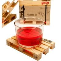 4pcs/set Wooden Pallet Styled Coaster Set Mini Wooden Pallet Tea Coffee Cup Coaster Creative Wood Pallets Table Place Mats Decor