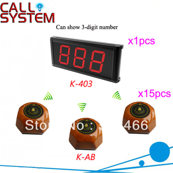 Hot Sale Guest Paging System for Karaoke K-403+AB LED display 3-digit number and button can be personalized Shipping Free