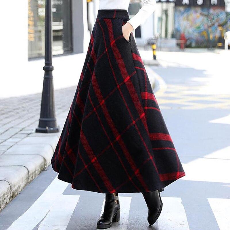 d9d9495a674 Толстая Клетчатая Шерстяная Юбка женская новая зимняя Длинная с высокой  талией тонкая трапециевидная юбка с карманом